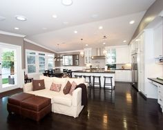 Open Concept Living Room Kitchen Design, Pictures, Remodel, Decor and Ideas. love the floor color and the wide open space.