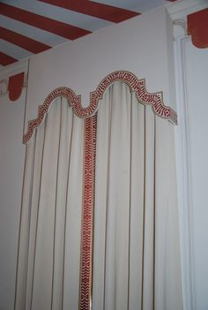 Banded draperies with hand painted cornice