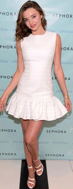 Who made  Miranda Kerr's white dress and triple strap sandals?