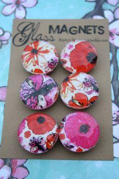 Glass Magnets  Floral Fascination by ZephyrDesignsAlaska on Etsy, $8.00