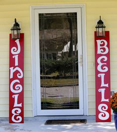 JINGLE BELLS hand-painted outdoor wooden signs. $85.00, via Etsy.