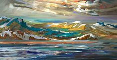 Western Evening, mixed media painting by Joel Masewich Mountain Paintings, Nature Paintings, Landscape Paintings, Headboard Art, Modern Art, Contemporary Art, Lake Painting, Cast Glass, Spring Landscape
