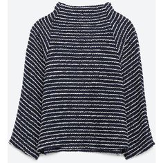Zara Funnel Collar Top ($40) ❤ liked on Polyvore featuring tops, sweaters, long sleeve top, shirts, navy blue, navy collared shirt, longsleeve shirt, navy top, navy shirt and navy blue shirt