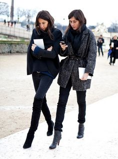 Parisian Chic Street Style - Dress Like A French Woman....the girl on the left