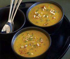 Roasted Hubbard Squash Soup with Hazelnuts & Chives recipe