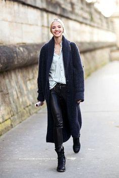 Sasha Luss in a maxi cardigan button down, leather pants & combat boots #style #fashion #streetstyle #modeloffduty