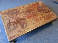 Risk Board Coffee Table - Wood Burned Map