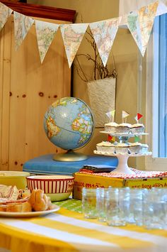 going away party, use maps/globes and vintage suitcases and postcards