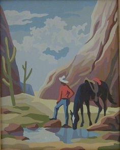 Vintage WESTERN COWBOY Paint By Number Painting