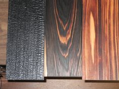 Shou Sugi Ban wood by Delta Lumber & Millworks Aujourd'hui Shou Sugi Ban est un moyen écologique pour préserver le bois et (paradoxalement) rendre résistant au feu. Les conservateurs chimiques, les peintures et les retardateurs sont donc inutiles. En plus des utilisations extérieures, la technique populaire se trouve maintenant dans les salles intérieures, les meubles et œuvres d'art.