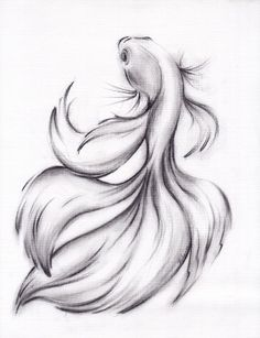 Belladonna - ORIGINAL Charcoal Pencil Drawing of a Siamese/Betta Fighting Fish art This item is unavailable Unique Drawings, Cool Art Drawings, Amazing Drawings, Art Drawings Sketches, Cute Drawings Of Girls, Drawing Faces, Beautiful Drawings, Art Illustrations, Drawing Ideas