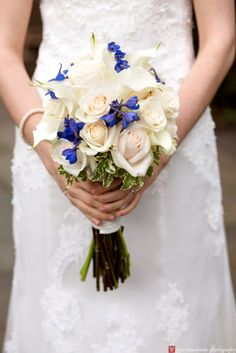 Love the dramatic pop of blue ~ Mini calla lilies, roses and delphinium for our bride Rachel in early May at Nassau Inn Princeton www.perfectweddingflowers.com Photography by Kyo Morishima Photography