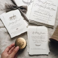 This beautiful #wedding invitation suite was #screenprinted in English and Danish, for a wedding in Denmark. Design and calligraphy by @writtenwordcalligraphy