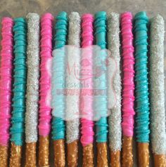 Dipped Pretzel Rods in Teal, pink, and silver