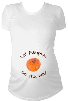 Lil' pumpkin on the way Halloween Maternity by CustomTeesForTots, $21.99