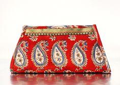 Red Pattern Clutch $25.00 #fashion #handmade #fairtrade