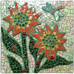 Awesome Ladybug Flowers                                #mosaic #mosaicflowers #mosaicart