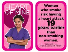 Women who smoke risk having a heart attack 19 years earlier than non-smoking women. Heart Disease Facts, Dental Scrubs, Same Day Delivery Service, Non Smoking, Heart Month, Lab Coats, Nursing Dress, Wear Red, Heart Attack