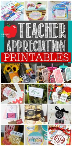 Take a look at all the ways to show your teacher you are thankful with these FREETeacher Appreciation Printables plus more teacher appreciation Ideas on Frugal Coupon Living.  #printable #freeprintable #teacherappreciation #teachergiftidea #teachergift #teacherappreciationweek #teacherappreciationweekideas