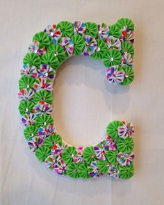 "Custom Wood Letters - Baby Name or Initial Letters - 9"" Wooden Letter covered with fabric yo-yos can hang on door or wall"