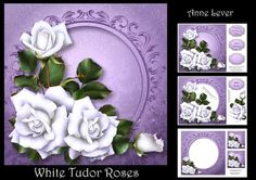 White Tudor Roses by Anne Lever This lovely mini kit makes an 8x8 square topper with extra frame, decoupage, three greetings, a blank greetings tile, two gift tag toppers and a matching insert. The extra frame has shadow and background intact behind the flowers, making it easier to cut out. It features gorgeous white roses.