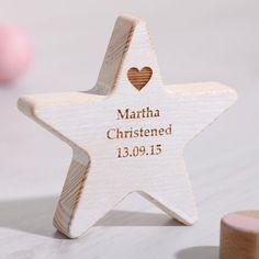 Personalised Wooden Star Christening Keepsake