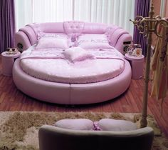 bedroom pink sofa bed in cool teenage bedrooms ideas with wooden flooring using soft grey carpet sofa and cushions also desk lamp on sidetable how to designing and decorationg a cool teenage bedrooms The Benefits of Having Round Beds Purple Bedroom Design, Purple Bedrooms, Design Room, Interior Design, Teenage Girl Bedroom Designs, Teenage Girl Bedrooms, Bedroom Sofa, Bedroom Decor, Bedroom Ideas