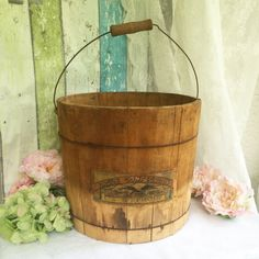 Antique Large Wood Candy Bucket Country Store Eagle's