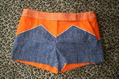 Gotta love these geometric printed color block shorts! One pair left.