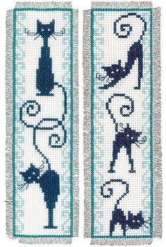 Cheerful Cats Bookmarks Cross Stitch Kit   sewandso