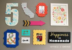 Colorful Gallery Wall - lots of fun bright colors and whimsical frames!