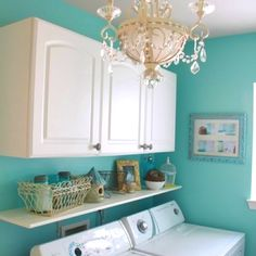 I'm loving teal for my laundry room with white and my stainless steel...