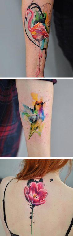 Watercolor tattoos by Aleksandra Katsan // tattoo ideas