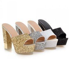 4934f56d4d47 New Women s Fashion Peep Toe Chunky High Heels Platform Slingbacks Sandals  Shoes