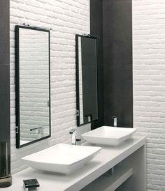 Casa Loft, Kitchen Backsplash, Backsplash Ideas, Sink, Interior Design, Mirror, Furniture, Bathrooms, Home Decor