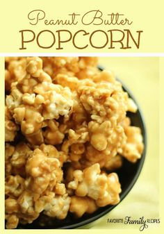 This quick and easy popcorn is a favorite around our house! Perfect for family movie nights or when I need a quick treat to take to a friend or neighbor. #popcornrecipe #peanutbutterpopcorn