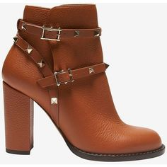 Valentino Rockstud Strap Block Heel Bootie: Brown (2 370 BGN) ❤ liked on Polyvore featuring shoes, boots, ankle booties, brown, short boots, brown leather ankle booties, brown leather boots, brown boots and brown booties