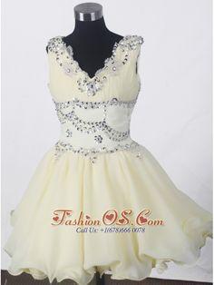 Beading Romantic A-line V-neck Mini-length Little Girl Pageant Dress