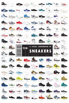 """The other poster is called """"A Visual Compendium of Sneakers,"""" $32, and compiles some of the most iconic sports shoes the world has ever seen. It includes everything from the Converse Chuck Taylor All Star, originally created in 1917, to this year's Eagle edition of Jeremy Scott's Adidas Wings shoe. And of course, there are several iterations of Nike's Jordans included too."""