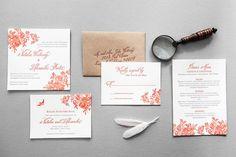 """Pemberley"" letterpress wedding invitation suite by the Aerialist Press using Belluccia Calligraphy font by Debi Sementelli of Lettering Art Studio"