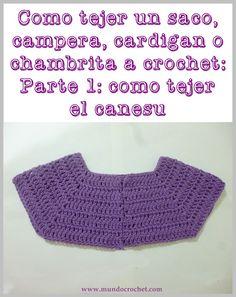 Cómo tejer un saco, campera, cardigan o chambrita a crochet o ganchillo paso a paso: Parte - Cómo tejer el canesú [] # # # # # # # # # Crochet Lace Collar, Crochet Yoke, Crochet Halter Tops, Crochet Cardigan, Crochet Granny, Crochet Stitches, Crochet Baby, Crochet Jacket, Cardigan Pattern