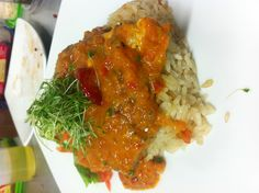 Fresh grouper coconut rice and encocao Salsa
