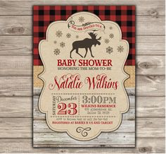 A personal favorite from my Etsy shop https://www.etsy.com/ca/listing/254292537/boy-baby-shower-invitations-winter-moose
