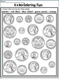 Coins : Identify coins in a fun way! This product contains 4 worksheets designed to help students identify the US coins and a poster with the US coins.Included:*Coin Coloring Fun*Name and Color the Coin (roll the dice activity)*Sort the Coins*Coins and their Value (cut,paste,and match)*U.S.