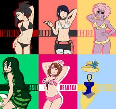 Class 1-A shoujos in their swimsuit.