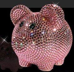 Pink Bling Crystal Piggy Bank