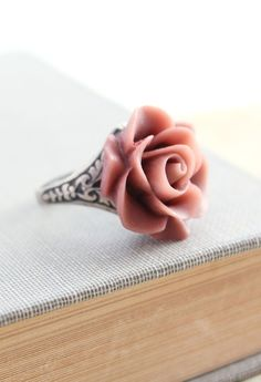Rose Cocktail Ring Resin Flower Plum Pink, Dusty Rose Shabby Chic Romantic Bridal Bridesmaids Accessories Antique Silver Adjustable Ring