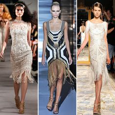 Evening-Ready Fringe. Spring 2012.  From left to right: Oscar de la Renta, Gucci, Marchesa. You know, in case you hit the red carpet anytime soon.