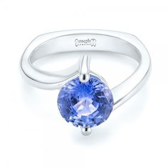 Custom Solitaire Blue Sapphire Engagement Ring #102973