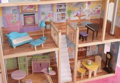The Kidkraft Majestic Mansion Dollhouse is four and a half feet tall and is spacious enough for even the biggest imaginations! Dollhouse Kits, Wooden Dollhouse, Toy Playhouse, Cute Little Kittens, Multiplication For Kids, Mansions Homes, Doll Furniture, House Furniture, Play Houses